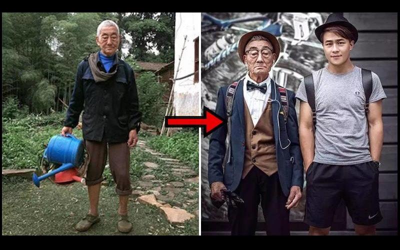 85歲老爺爺被孫子大改造!!馬上從老農夫變身成時尚潮人!潮爆模樣根本就是時尚雜誌封面照!  -