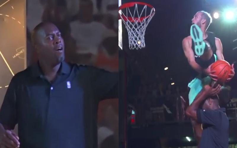 """男子想灌籃卻被NBA巨星瞧不起,當他使出""""大車輪""""絕技全場立刻沸騰!"""
