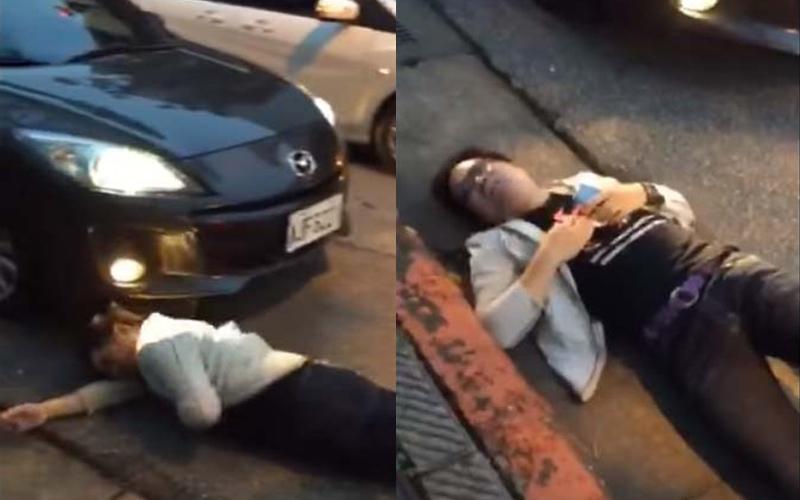 男子自撞車尾倒地不起,浮誇演技直逼沈玉琳阿!
