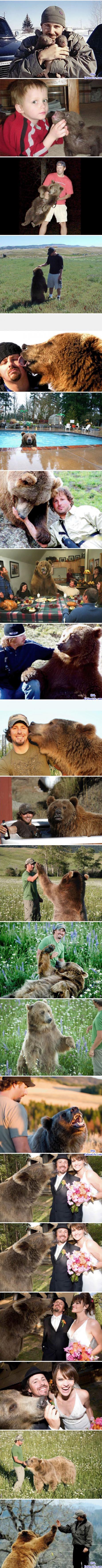 男人在野外發現了失去母熊的垂危幼熊,毅然決定將一輩子養育這隻幼熊…-0