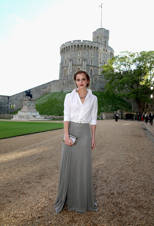 WINDSOR, ENGLAND - MAY 13:  Actress Emma Watson arrives for a dinner to celebrate the work of The Royal Marsden hosted by the Duke of Cambridge at Windsor Castle on May 13, 2014 in Windsor, England.  (Photo by Chris Jackson/Getty Images)