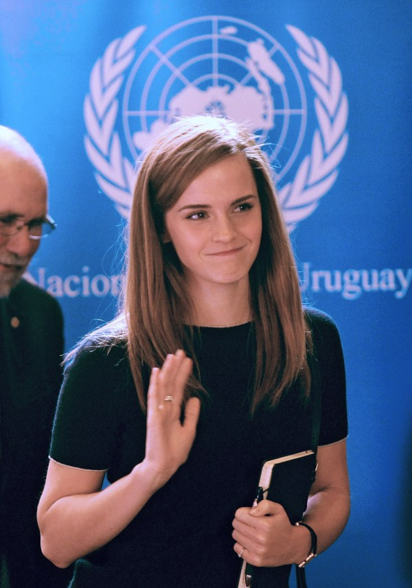 British Actor and UN Women Goodwill Ambassador Emma Watson arrives to the presentation of the UN Womens HeForShe campaign to Non Governmental Organizations at the Uruguay's Parliament in Montevideo on September 17, 2014. The UN project intends to mobilize one billion men and boys as advocates and agents of change in ending the persisting inequalities faced by women and girls globally. The premise is that inequality is a human rights issue, the resolution of which will benefit everyone  socially, politically and economically.  AFP PHOTO/ Miguel ROJO        (Photo credit should read MIGUEL ROJO/AFP/Getty Images)