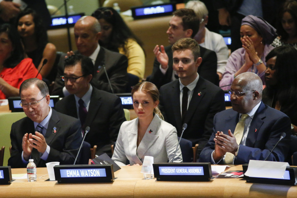 NEW YORK, NY - SEPTEMBER 20:  UN Women Goodwill Ambassador Emma Watson (C ) attends the HeForShe campaign launch at the United Nations on September 20, 2014 in New York, New York. (Photo by Eduardo Munoz Alvarez/Getty Images)